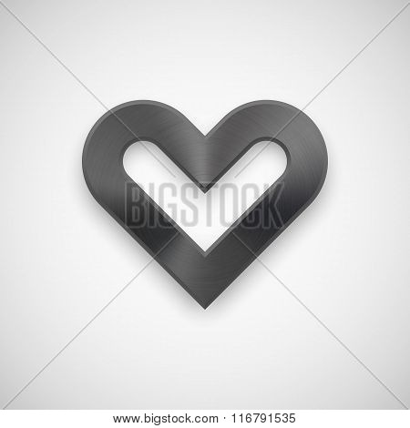 Black Valentines Heart Sign With Metal Texture