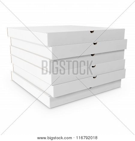 Stack  white boxes of pizza