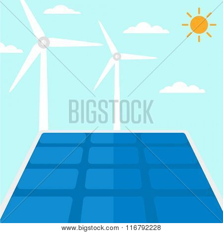 Background of solar panels and wind turbines.