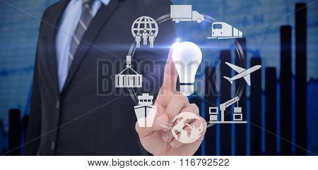 Mid section of businessman pointing something up against blue data