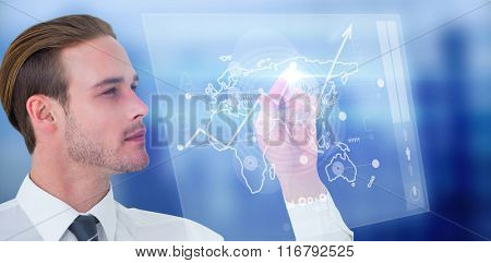 Concentrated businessman pointing with his finger against global business interface