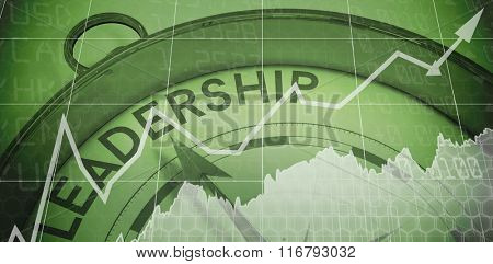 Stocks and shares against compass pointing to leadership