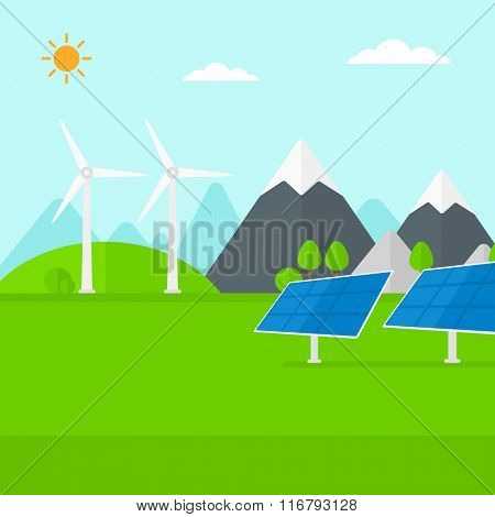 Background of solar panels and wind turbines in mountains.
