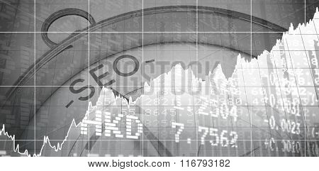 Stocks and shares against compass pointing to seo