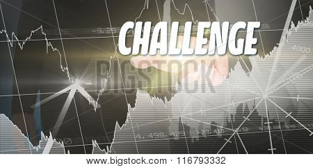 The word solution and businessman pointing with finger against stocks and shares