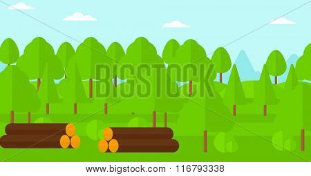 Background of the forest with piles of logs.