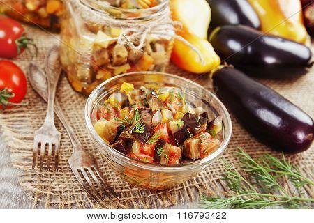 Steamed Vegetables In A Glass Jar