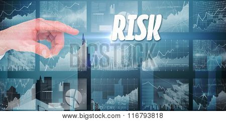 The word solution and businesswoman touching invisible screen against stocks and shares