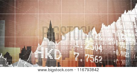Stocks and shares against cityscape stencil design