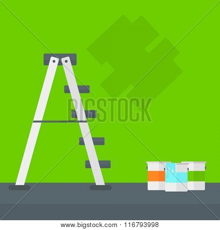 Background of wall with paint cans and ladder.
