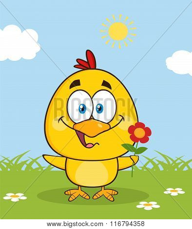 Cute Yellow Chick Character Holding A Flower