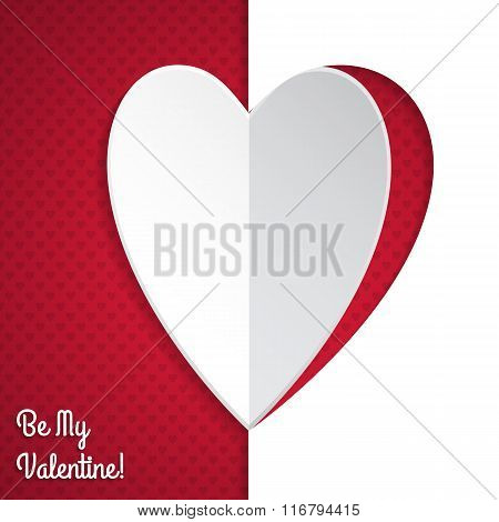 Valentine Greeting Card With Heart Paper Peel