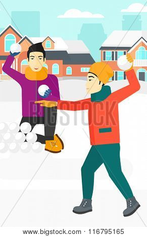 Men playing in snowballs.