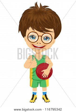 little boy with glasses holding basketball and showing thumbs up