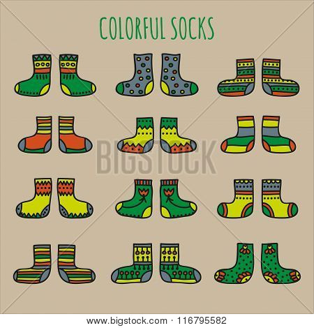 Set of colorful socks with different patterns on a beige background
