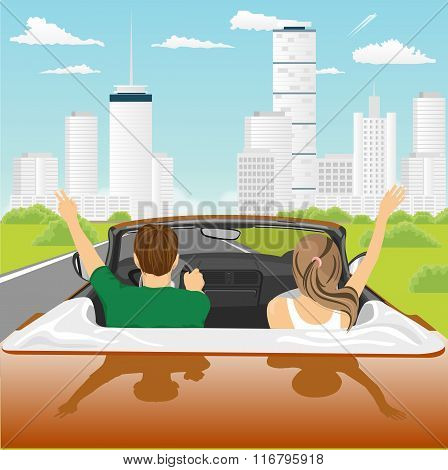 happy free couple driving in cabriolet car cheering joyful with arms raised