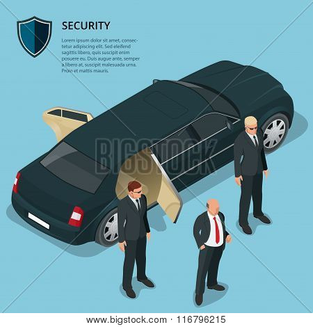 Security officers protects car with VIP person