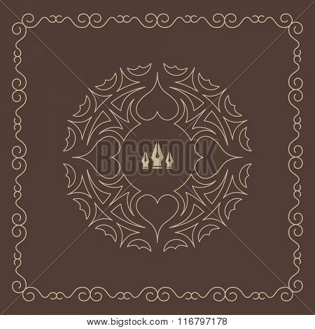 Ornament Decoration. Ornate Frame. Elegant Element for Design, Place for Text. Retro Style for Invitations, Banners, Posters, Placards and Badges. Ethnic Circle Element. Vector Fashion Illustration.