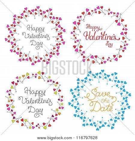 Vector Circle Frame Set With Multicolored Hearts. Romantic Background.