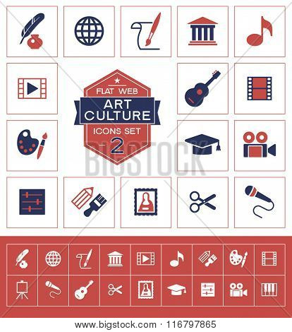 Vector art culture and creativity icons set.Trendy security vector elements.  Modern flat design.