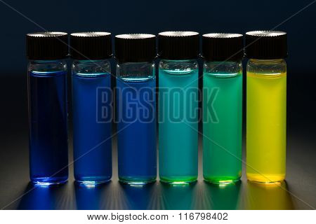 Multi-colored liquid in the vials