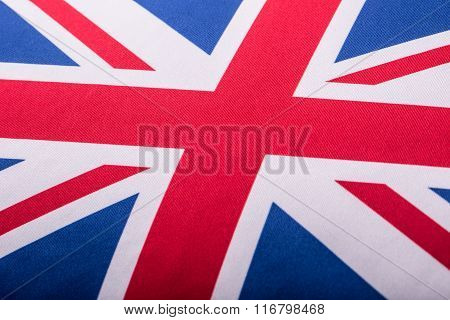 Closeup of Union Jack flag. UK Flag. British Union Jack flag blowing in the wind.