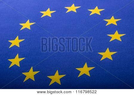 EU Flag. Euro Flag. Flag of European Union waving in the wind. Detailed star flag Euro.