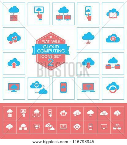 Set cloud computing icons. Trendy cloud computing vector elements.  Modern flat design.