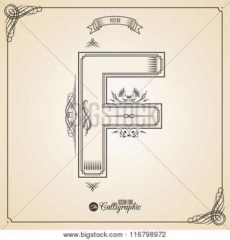 Calligraphic Fotn with Border, Frame Elements and Invitation Design Symbols. Collection of Vector glyph. Certificate and Decor Design Elements. Hand written retro feather Symbol. Letter F