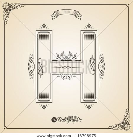 Calligraphic Fotn with Border, Frame Elements and Invitation Design Symbols. Collection of Vector glyph. Certificate and Decor Design Elements. Hand written retro feather Symbol. Letter H