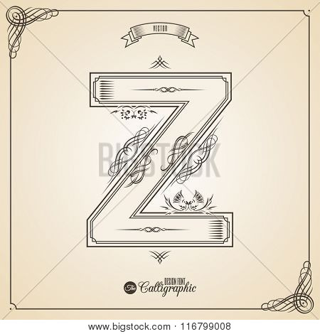 Calligraphic Fotn with Border, Frame Elements and Invitation Design Symbols. Collection of Vector glyph. Certificate and Decor Design Elements. Hand written retro feather Symbol. Letter Z