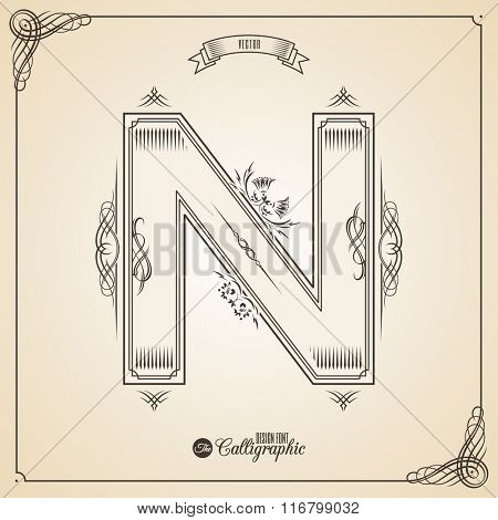 Calligraphic Fotn with Border, Frame Elements and Invitation Design Symbols. Collection of Vector glyph. Certificate and Decor Design Elements. Hand written retro feather Symbol. Letter N