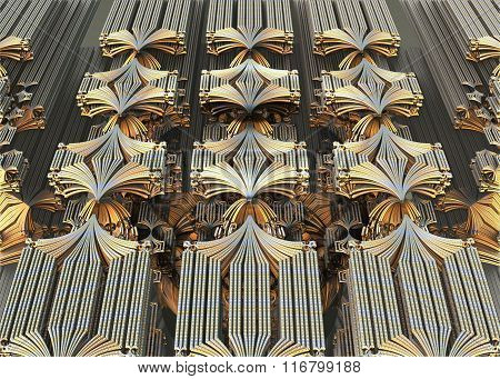 Abstract wall with metal element