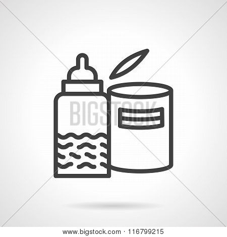 Black line milk formula and bottle vector icon