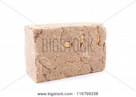 Halva With Nuts On A White Background.