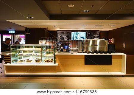 HONG KONG - JANUARY 27, 2016: interior of McCafe. McCafe is a coffee-house-style food and drink chain, owned by McDonald's.