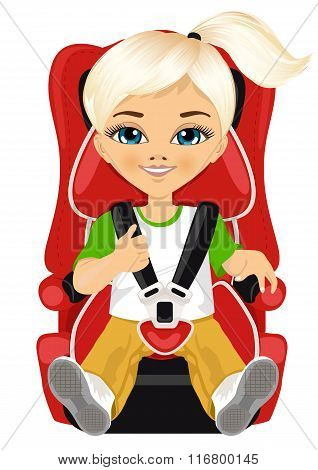 little girl strapped to a car seat