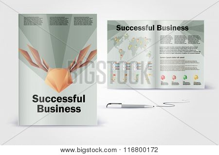 Polygon animal  deer brochure. Color application booklet template design for corporate identity with statistics and infographics. Cover layout and infographics. Business stationery.