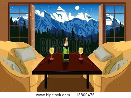 Interior of a hotel room in ski resort in the evening