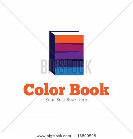 Vector paper style bookstore logo. Multicolor flat book logotype