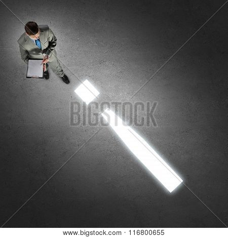 Businessman from top view