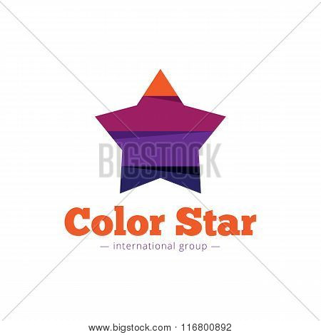 Vector paper style multicolor star logo. Flat striped star abstract symbol