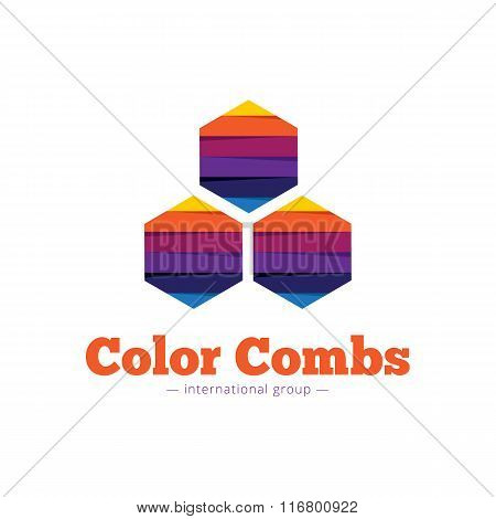 Vector paper style multicolor hexagon logo. Flat striped comb abstract symbol