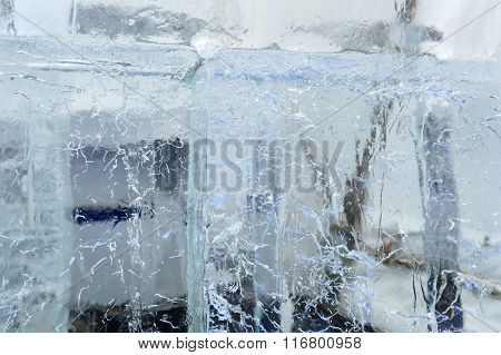 Glacial Transparent Blocks Of Ice With Patterns.