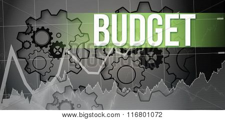 The word budget and stocks and shares against turning cogs