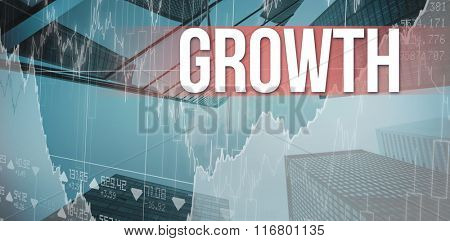The word growth and business interface with graphs and data against skyscraper