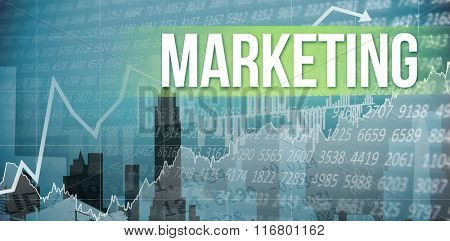 The word marketing and stocks and shares against cityscape stencil design