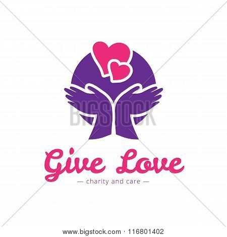 Vector clean charity center logo. Hospital logotype with hands and heart
