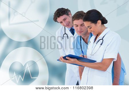 Happy doctors discussing on white background against medical background with green dna helix