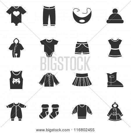 Baby clothes icons set